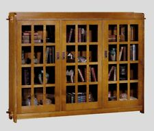 Arts & Crafts Mission Triple Bookcase w/ Glass Doors by Stickley Audi & Co.