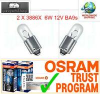 2x 3886X  6W 12V BA9s OSRAM Sidelight bulb interior indicator panel halogen