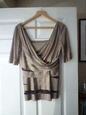 Rachel Roy Evening Silk Layered Top Stunning Delicate Brown Bronze M UK 12