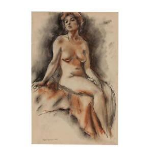 Edgar Yaeger Conté Crayon Female Nude Figure Study Drawing Portrait Painting