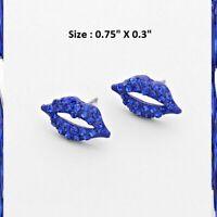 Mini Crystal Rhinestone Wedding Statement Prom Earrings Heart Lips Love Kiss