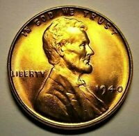 """1940-P Lincoln Wheat 1c""""Original Golden Mint Luster""""GEM+BU/RED from OBW roll."""