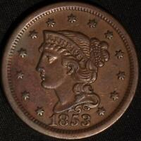 """1853 """"BRAIDED HAIR"""" LARGE CENT,  STILL ANOTHER BETTER CLASSIC OLD COPPER!"""