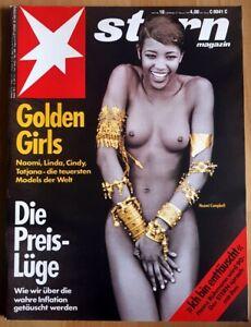 Naomi Campbell 1992 Stern 10 Zeitschrift Models Film Cindy Crawford Linda Evange