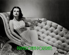 MARIA MONTEZ 8X10 Lab Photo 1940s Slinky Negligee Gown, Chaise Lounge Portrait