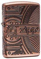 Zippo 29523, Antique Copper Armor Lighter,  Gears, 360- Degree Multi-Cut