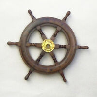 "Teak Ship's Steering Wheel 15"" Solid Brass Hub Nautical Pirate Wall Decor New"