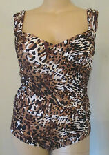 Womens 14 Swimsuit Jessica London 1PC Leopard  Ruched Maillot Built-In Bra