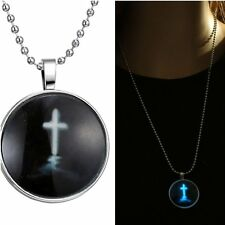 Women Cross Sacred Jesus Stainless Steel Chain Glow In The Dark Pendant Necklace