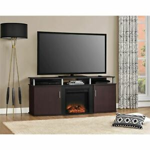 """Ameriwood Home Carson Electric Fireplace TV Console for TVs up to 70"""" Cherry/Bla"""