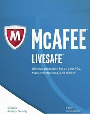 McAfee LiveSafe 2017, 1 User - Unlimited Devices, 1 Year - NEW DOWNLOAD VERSION