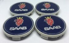4 x SAAB BLUE 62mm/63mm ALLOY WHEEL CENTRE HUB CAPS FITS 9-3 9-5 900 93 95