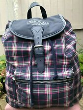 Jack Wills beautiful canvas check handbag backpack lightweight & roomy bag Logo