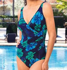 NWT Women's  MIRACLESUIT Oceanus blue  one piece SWIMSUIT Size 14 Free Shipping