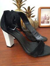 Zapatos De Cuero Mujer De Las Señoras Negro Blanco De Gamuza Kurt Geiger Tacones Sandalias De Boda