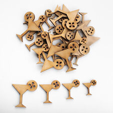 Wooden MDF Shapes Cocktail Craft Scrapbooking Embellishments Card Decoration
