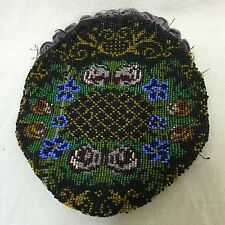Antique Clutch Bag Glass Seed-Beaded Pouch Cloth Interior Black Green Floral 7.5