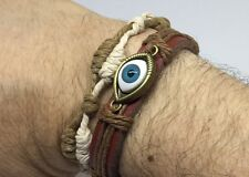 Evil Eye Leather Bracelets  Adjustable Pull Cordsg Hamsa Leather Bracelet set
