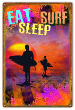 Vintage Antique Style Metal Sign Eat Sleep Surf 12x18