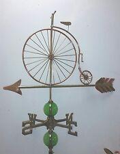 Beautiful UNIQUE LARGE OLDTYME BICYCLE  weathervane, COMPLETE SETUP + mount