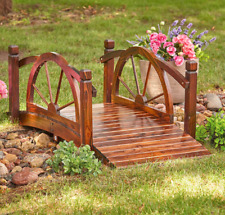 Decorative Wood Wagon Wheel Garden Bridge Patio Landscape Pond Creek Walkway 5ft