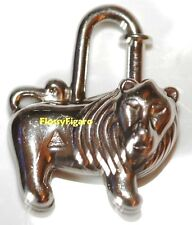 Authentic HERMES CHARM CADENAS LION LEO Palladium 1997 RARE pour Birkin Kelly