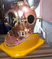 "Boston 18"" Diving Helmet Anchor Engineering Scuba Divers Helmet with Wooden Base"