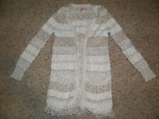 JUSTICE Long Sparkle Cream/Tan Fringe Duster Sweater Size 10