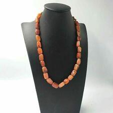 (cB2945) Tibet:  Old tibetan handmade Carnelian Carved Agate  Beads Necklace
