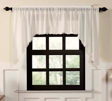 TOBACCO CLOTH Antique White Swag Set Window Curtains Primitive Rustic Fringe