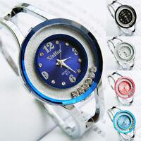 Women Bangle Crystal Dial Stainless Steel Quartz Analog Bracelet Wrist Watch