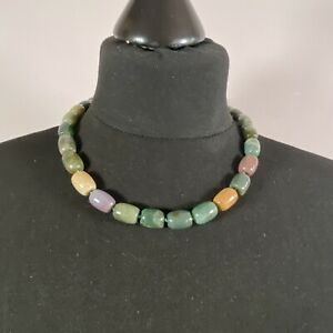 STATEMENT Green & Purple Polished Stone Necklace Collar Length Retro Bohemian