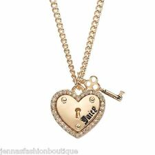 JUICY COUTURE gold tone Heart & Key Charm Necklace Crystal CARDED new