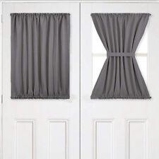 Home Front French Door Window Curtain Panel w/ Tieback Room Darkening Grey