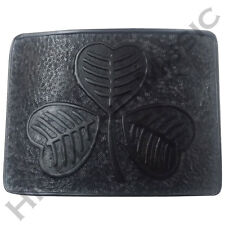 Scottish Highland Kilt Belt Buckle Irish Shamrock High Quality Jet Black Finish