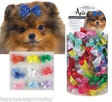 Multi Color DOG Grooming SATIN Ribbon POLKA DOT&TULLE HAIR 100 BOWS w/Elastic