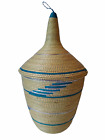 """Large African Tutsi Rwanda Woven Basket With Coiled Pointed Cone Lid 13"""""""