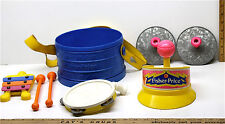 Vintage Fisher Price Marching Band Music Toys Xylophone Cymbals Maraca Tamborine