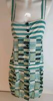 MNG Green Stripe Drop Waist Button Front Dress Sz M