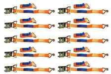 SET of 10 RATCHET TIE DOWN STRAPS - 4M / 25 mm / 1T 1000 KG HEAVY CARGO TRUCK
