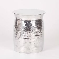 Hammered Aluminium Stool Side Drum Table Coffee Lamp Book Plant Stand Bedside