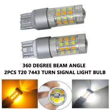2Pcs Turn Signal Light Switchback 7443 T20 42SMD LED Dual Color White & Amber