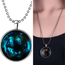 Tiger Glow in the Dark Gem Time Halloween Xmas Silver Men Women Pendant Necklace