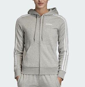 Adidas Women ESS 3S Fleece Hooded L/S Jackets Gray Sweat-shirts Jersey EI0683