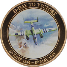 2014 D-Day to Victory Collection 24k Plate Coin + COA : RAF MITCHELL BOMBER