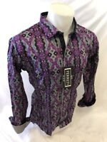 Men FERRETI By BARABAS Designer Dress Shirt Woven Purple GEOMETRIC SLIM FIT 4201