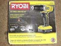 Ryobi Electric Drill + Battery Kit Tool Variable Speed & LED Light