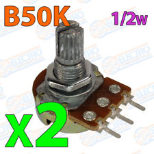 2x Potenciometro B50K ohm lineal 0,5w 15mm Linear Potentiometer Shaft alpha