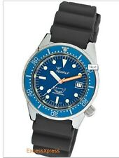 Brand New Squale 50 Atmos Blue 1521 026 BLR Polished Watch Warranty Swiss Made
