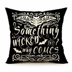 Halloween Something Wicked Pillow Cover Case 17x17 Plush Polyester Script